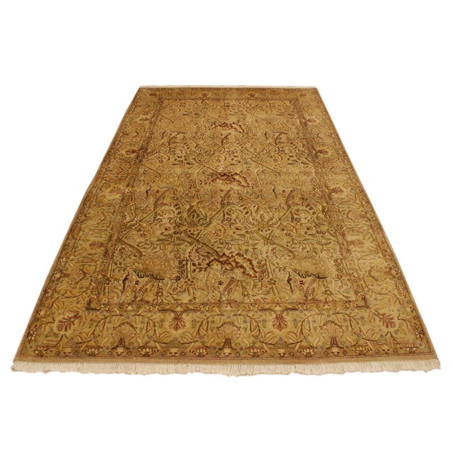 Pak Persian Griselda Tan/Gold Hand-Knotted Rug -4'2 X 6'2 For Sale