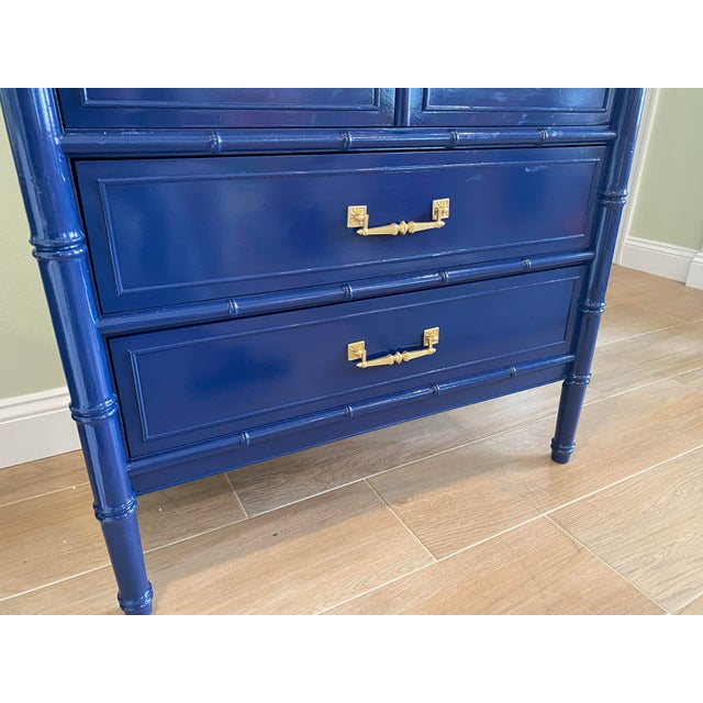 Metal Palm Beach Chic Faux Bamboo Tall Dresser Lacquered in Navy Blue With Gold Handles For Sale - Image 7 of 11