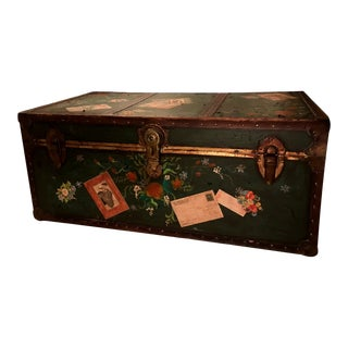 Americana Hand Painted Distressed Steamer Storage Trunk For Sale