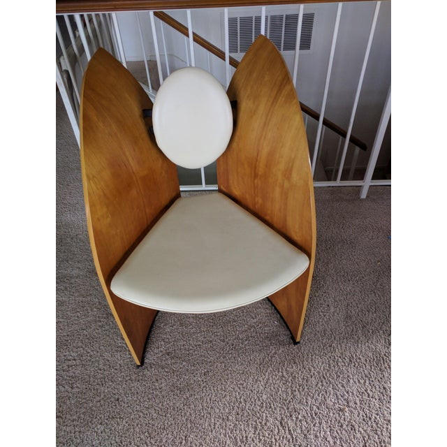 Custom made modern Scandinavian chair with cream leather seat and back. In a really good condition. Seat height is 17 inches.