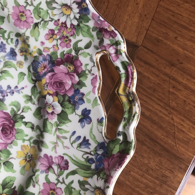 """Traditional 1930s Vintage Chintz """"Summertime"""" Platter For Sale - Image 3 of 7"""