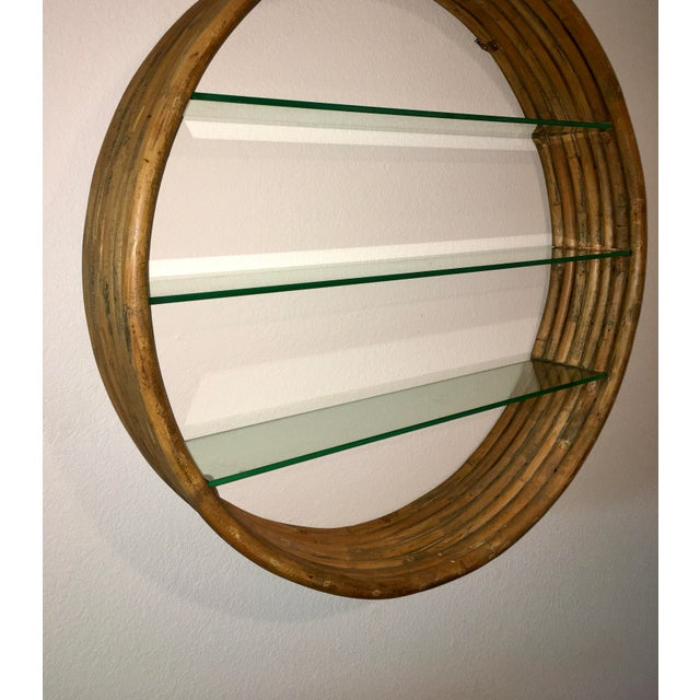Brown Mid Century Paul Frankl Large 7-Strand Bamboo Rattan Circular Wall Shelf Unit For Sale - Image 8 of 12