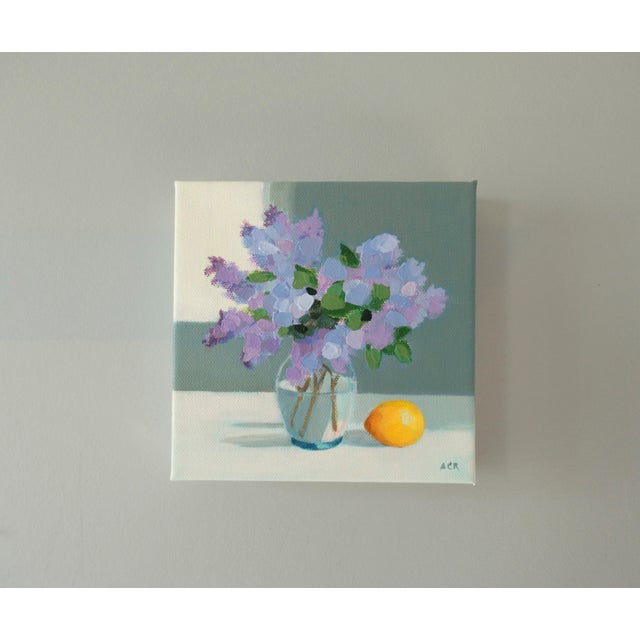 The lilacs are from my garden. A semi-abstract still life, painted with brushes and a palette knife. This painting is 6 x...