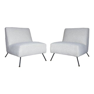 Vintage Dan Johnson for Pacific Iron Works Style Bouclé Slipper Chairs- A Pair For Sale