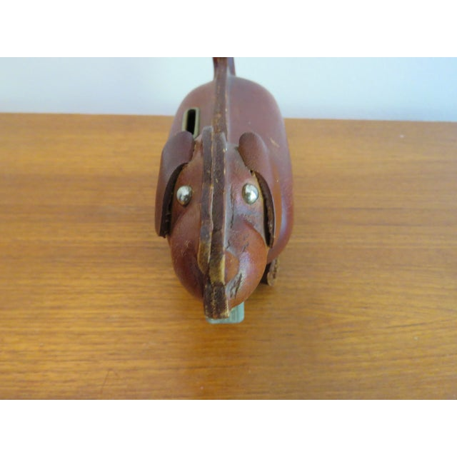 1960's Mid-Century Brown Leather Dog Coin Bank For Sale - Image 4 of 7