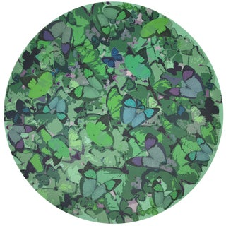 """Nicolette Mayer Mariposa Green 16"""" Round Pebble Placemat, Set of 4 For Sale"""