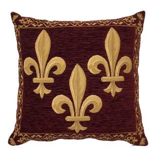 1980s Vintage Fleur-De-Lis Velveteen Tapestry Pillow For Sale