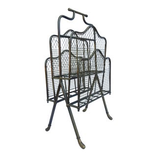 Vintage /Hollywood Regency Solid Brass Magazine Rack