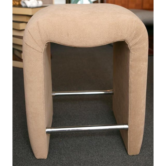Luxurious Modern Faux Ostrich Upholstered Stools 1970s - Image 7 of 13