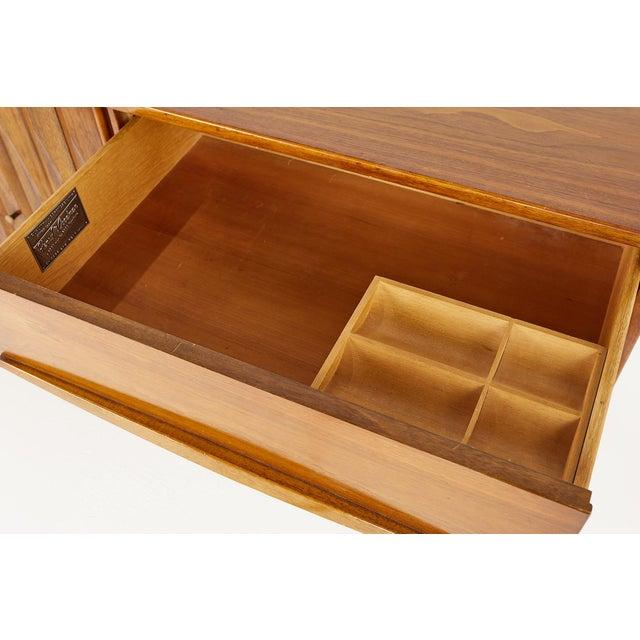 Thomasville Brutalist Mid Century Walnut Lowboy Dresser For Sale - Image 11 of 13