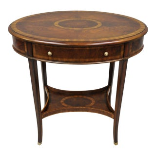 20th Century Traditional Maitland Smith Mahogany Oval Inlaid One Drawer Accent Table For Sale