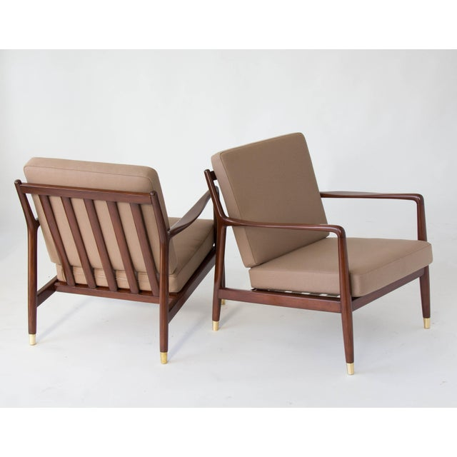 Brown Folke Ohlsson for DUX Brass-Capped Leg Lounge Chairs - a Pair For Sale - Image 8 of 9