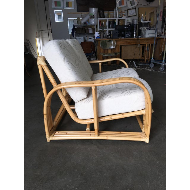 1950s Restored Paul Lazslo Rattan Four Strand Sectional Settee Sofa For Sale - Image 5 of 9