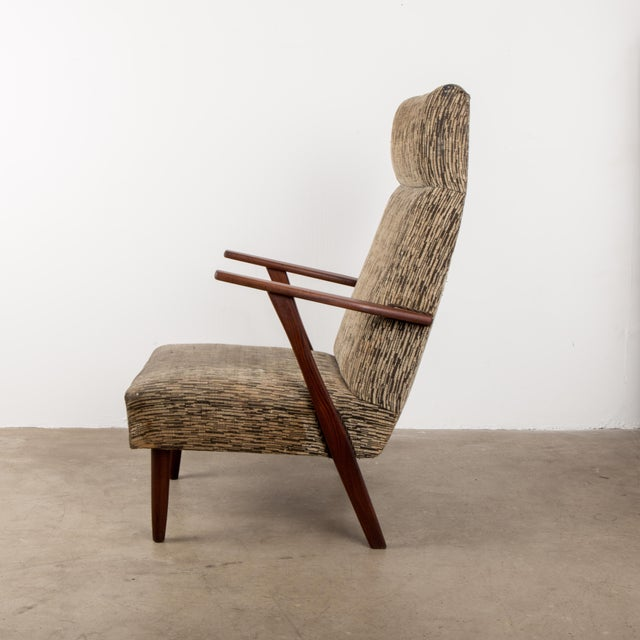 Mid-Century Modern 1960s Mid-Century Modern High-Back Chair For Sale - Image 3 of 8