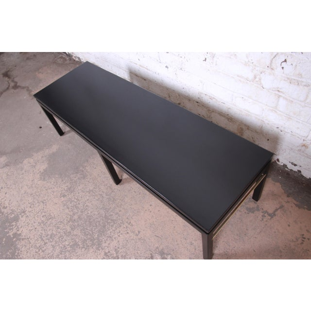 Edward Wormley for Dunbar Ebonized Walnut and Brass Coffee Table, Newly Restored For Sale In South Bend - Image 6 of 9