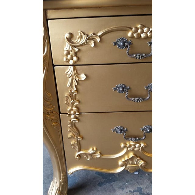 Gold French Louis XV Nightstands - Pair - Image 5 of 6