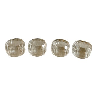 Clear Faceted Lucite Napkin Holders - Set of 4