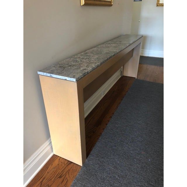 Contemporary Long & Narrow Sleek Birch and Marble Console Table For Sale - Image 13 of 13