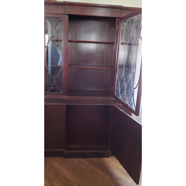 Wood 20th Century Gothic Mahogany China Cabinet For Sale - Image 7 of 12
