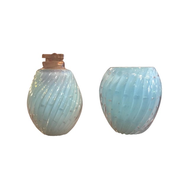 Baby Blue Muranoglass Smoke Set - A Pair - Image 1 of 10