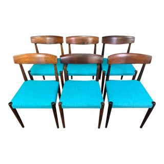 Set of Six Vintage Mid Century Danish Modern Rosewood Dining Chairs Model #343 by Knud Faerch for Slagelse Møbelfabrik For Sale