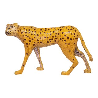 Cheetah - Vintage Cloisonne Enamel and Brass Sculpture - Mid Century Modern Palm Beach Boho Chic Animal Tropical Coastal For Sale