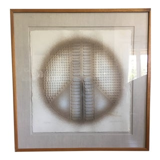 Mid-Century Abstract Peace Sign Cast Paper Textured Print by Paul Maxwell For Sale