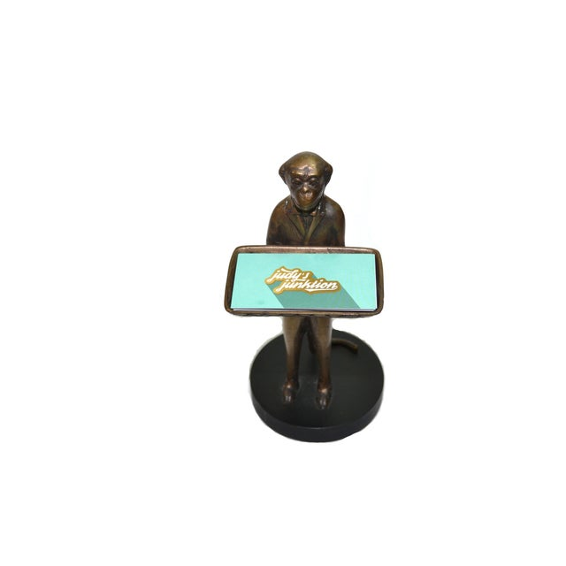 Vintage Brass Monkey Butler Card Holder - Image 3 of 6