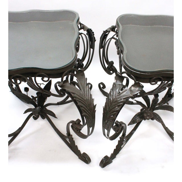 Iron Bent Floral Side Tables - A Pair For Sale - Image 5 of 7