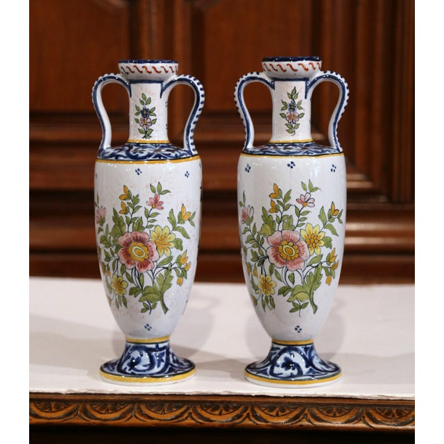 Henriot Quimper 19th Century French Hand-Painted Brittany Vases Signed HB Quimper - a Pair For Sale - Image 4 of 13