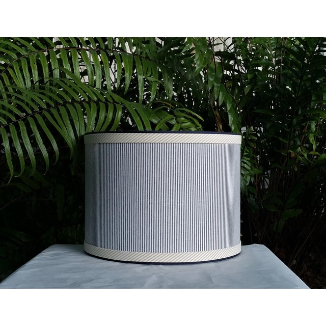 Blue and White Stripe Cotton Off White Trim Coastal Drum Lampshade For Sale - Image 9 of 9