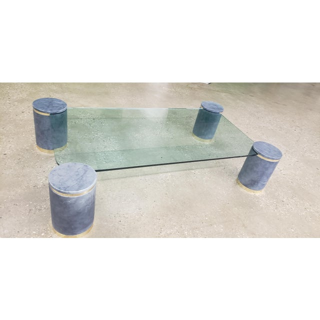 Metal Karl Springer Died Goat Skin & Brass Coffee Table For Sale - Image 7 of 7