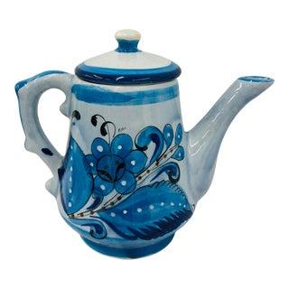 Vintage Hand Painted Mexican Tea Pot Pitcher For Sale