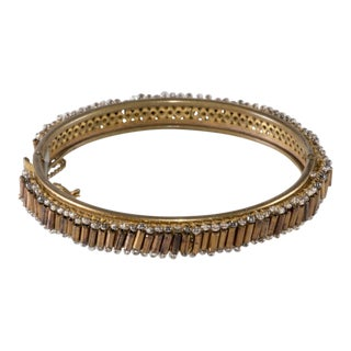 Miriam Haskell Bracelet Hinged Bangle Bronze Bugle and Clear Seed Beads Vintage For Sale