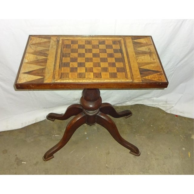 19th-C. Parquet Game Table - Image 4 of 4