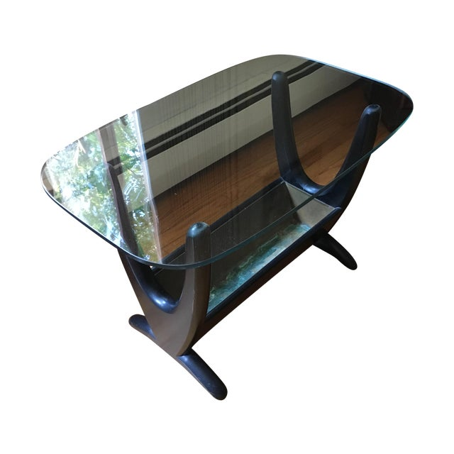 Mid Century Art Deco Glass Top End Table - Image 1 of 4