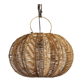 "Split Stained Rattan Pumpkin Lantern 16"" For Sale"