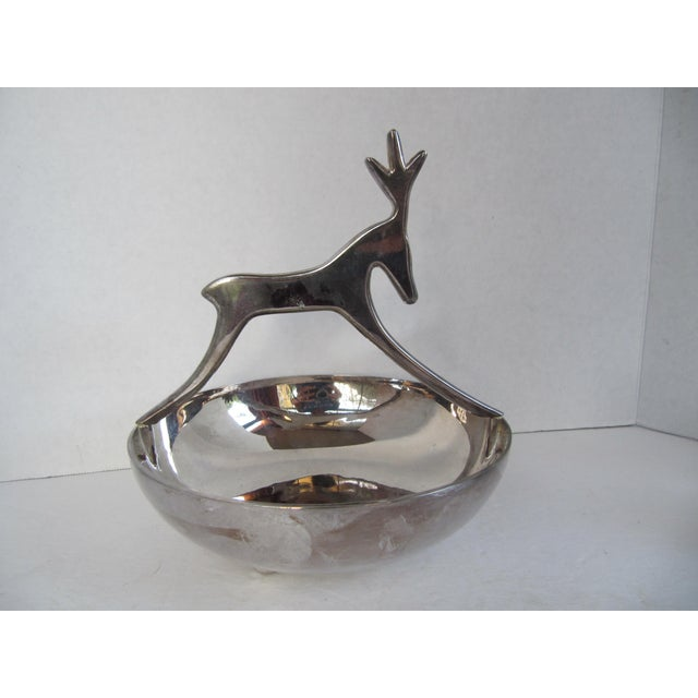 Silver-plate reindeer nut or sweet bowl. No maker's mark. Would be a fabulous candy or nut dish for the upcoming holidays....