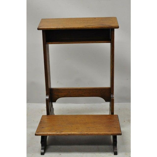 Vintage Arts & Crafts Mission Oak Wood Prayer Kneeler Kneeling Bench Seat. Item features solid wood construction,...