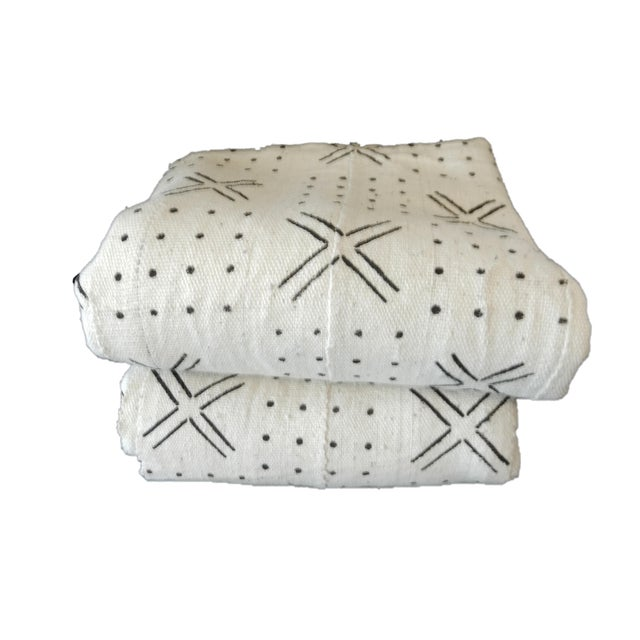 Mali White & Black Mud Cloth Fabrics - A Pair For Sale - Image 4 of 8