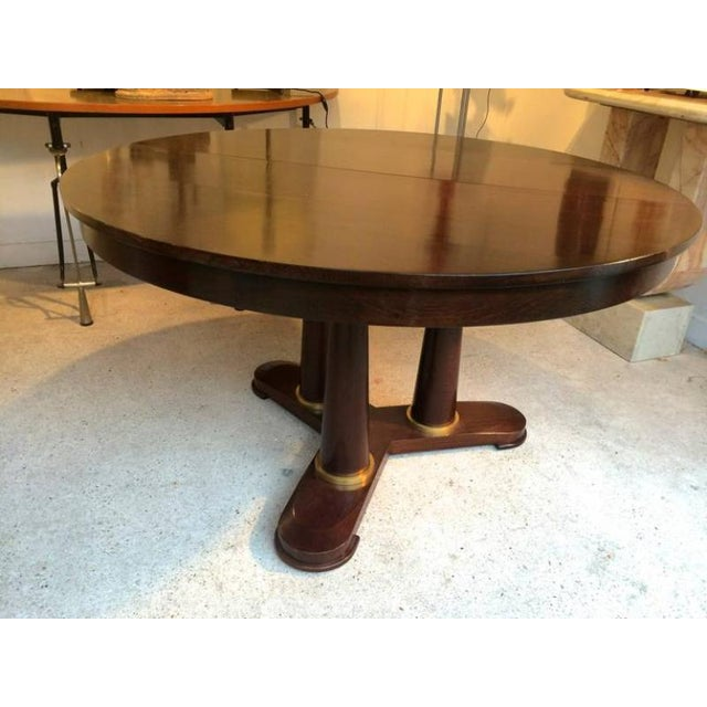 1950s Jean Royère Genuine Tripod Round Dinning Table With Tri-Pedestal Base For Sale - Image 5 of 6