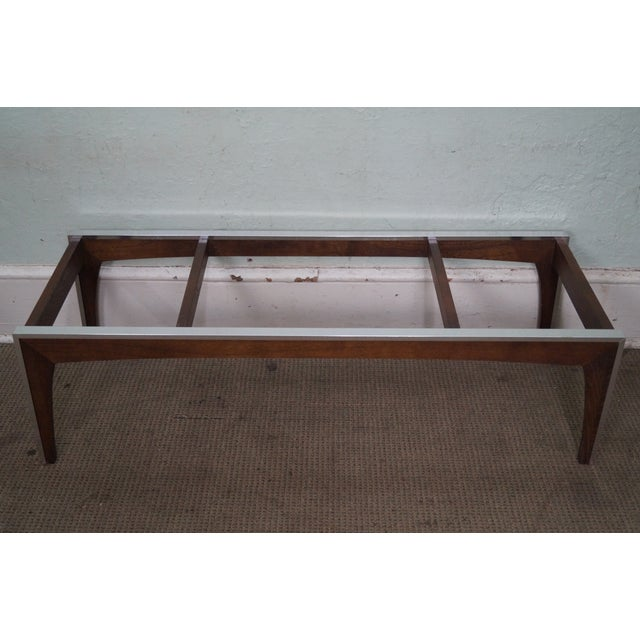 Silver Mid Century Modern Chrome & Walnut Smoked Glass Coffee Table For Sale - Image 8 of 10