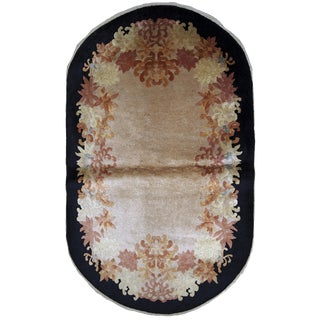 1920s Handmade Antique Oval Art Deco Chinese Rug 2.10' X 4.10' For Sale