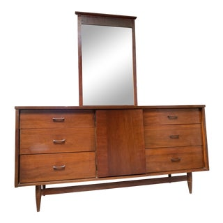 Mid Century 9 Drawer Dresser With Mirror For Sale