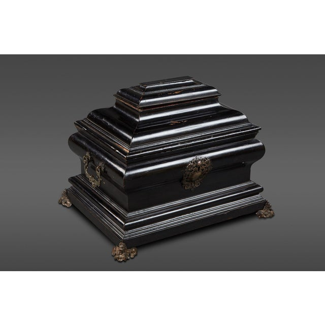 """An imposing ebonized Italian wooden Baroque """"coffretti"""". Usually serving as a wedding gift in affluent families of the..."""