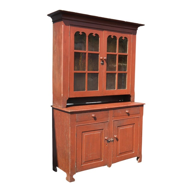 American Red Painted Two Part Cupboard For Sale