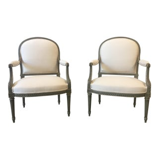 Pair of French Antique Painted Arm Chairs With Linen Upholstery For Sale