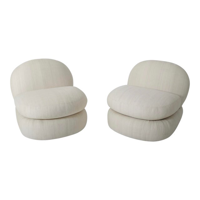 1970s Stacked Pouf Slipper Chairs - a Pair For Sale