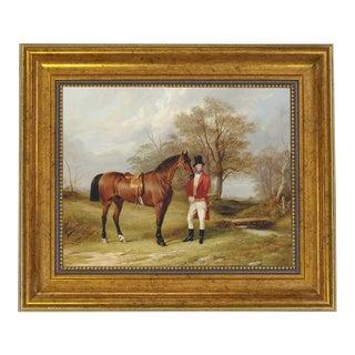 "Gentleman Standing Beside Saddled Hunter Framed Oil Painting Print on Canvas in Antiqued Gold Frame 8"" X 10"" Framed to 11-1/2"" X 13-1/2"" For Sale"