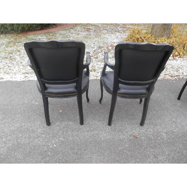 Mid 20th Century 20th Century French Louis XV Style Black Leather Bergere Chairs - a Pair For Sale - Image 5 of 7